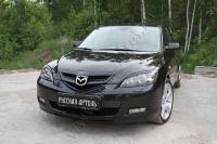 Накладки на передние фары (Реснички) Вариант 2 Mazda 3 хэтчбэк 2003-2008