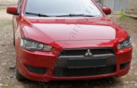 Накладки на передние фары (реснички) Mitsubishi Lancer X 2007-2010