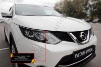 Накладки на передние фары (реснички) Nissan Qashqai 2014-2016
