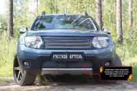 Защитная сетка переднего бампера (с обвесом без дхо) Renault Duster 2010-2014 (I поколение)