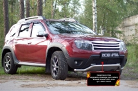 Защитная сетка переднего бампера (дхо+обвес) Renault Duster 2010-2014 (I поколение)
