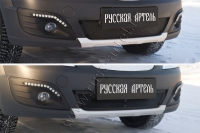Защитная сетка и заглушка решетки переднего бампера Lada (ВАЗ) Largus Cross (универсал) 2015-