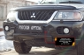 Защитная сетка и заглушка решетки переднего бампера Mitsubishi Pajero Sport 1998-2004