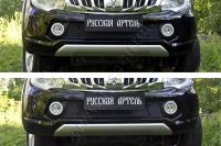 Защитная сетка и заглушка решетки переднего бампера Mitsubishi L200 2015-