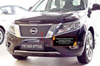 Зимняя заглушка решетки радиатора Nissan Pathfinder 2014-2016 (IV дорестайлинг)