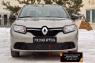 Зимняя заглушка решетки переднего бампера Renault Logan 2014-2017 (II дорестайлинг)