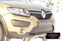 Зимняя заглушка решетки переднего бампера Renault Sandero Stepway 2014-